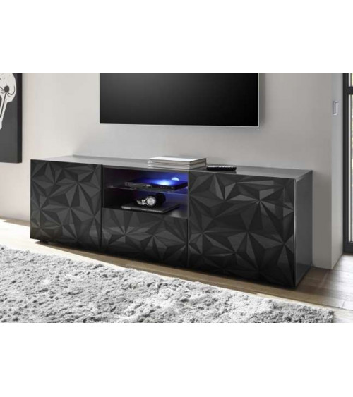 Meuble Tv LUTHER 2 portes 1 tiroir anthracite 181x57 cm