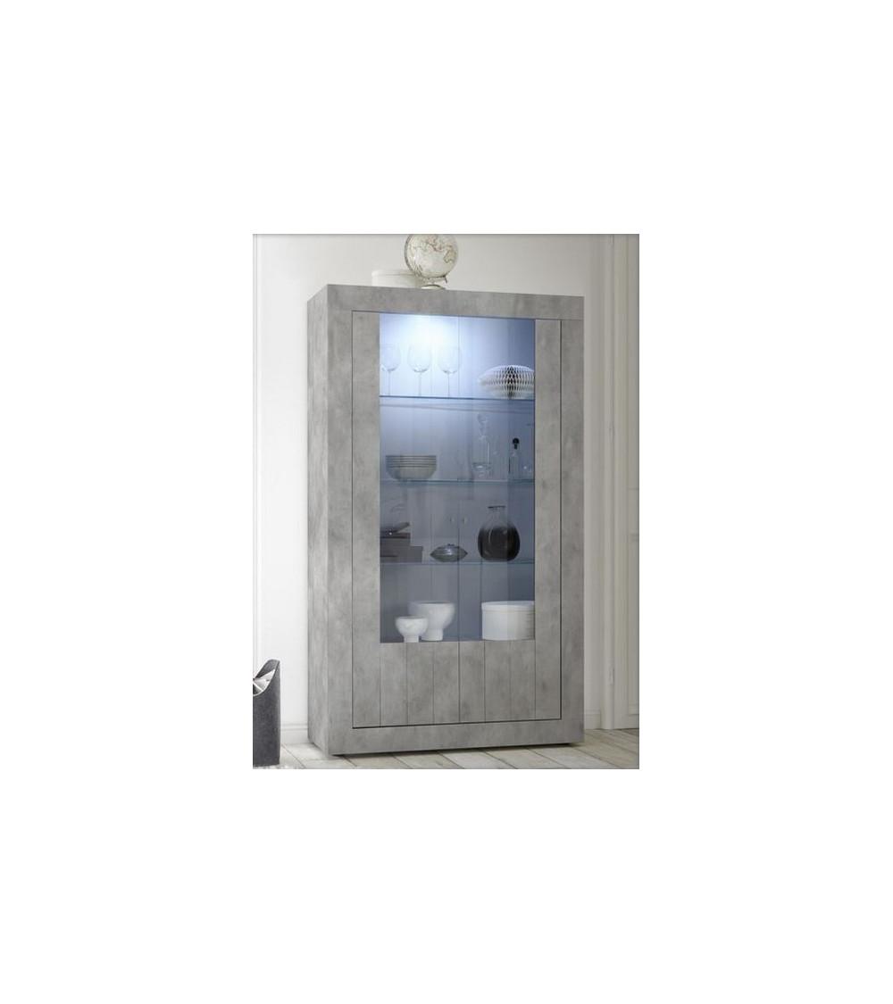 Vitrine SAMANTHA 2 portes béton 110x191 cm