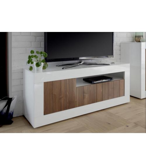 Meuble tv 3 portes SAMANTHA 138x56 cm noyer