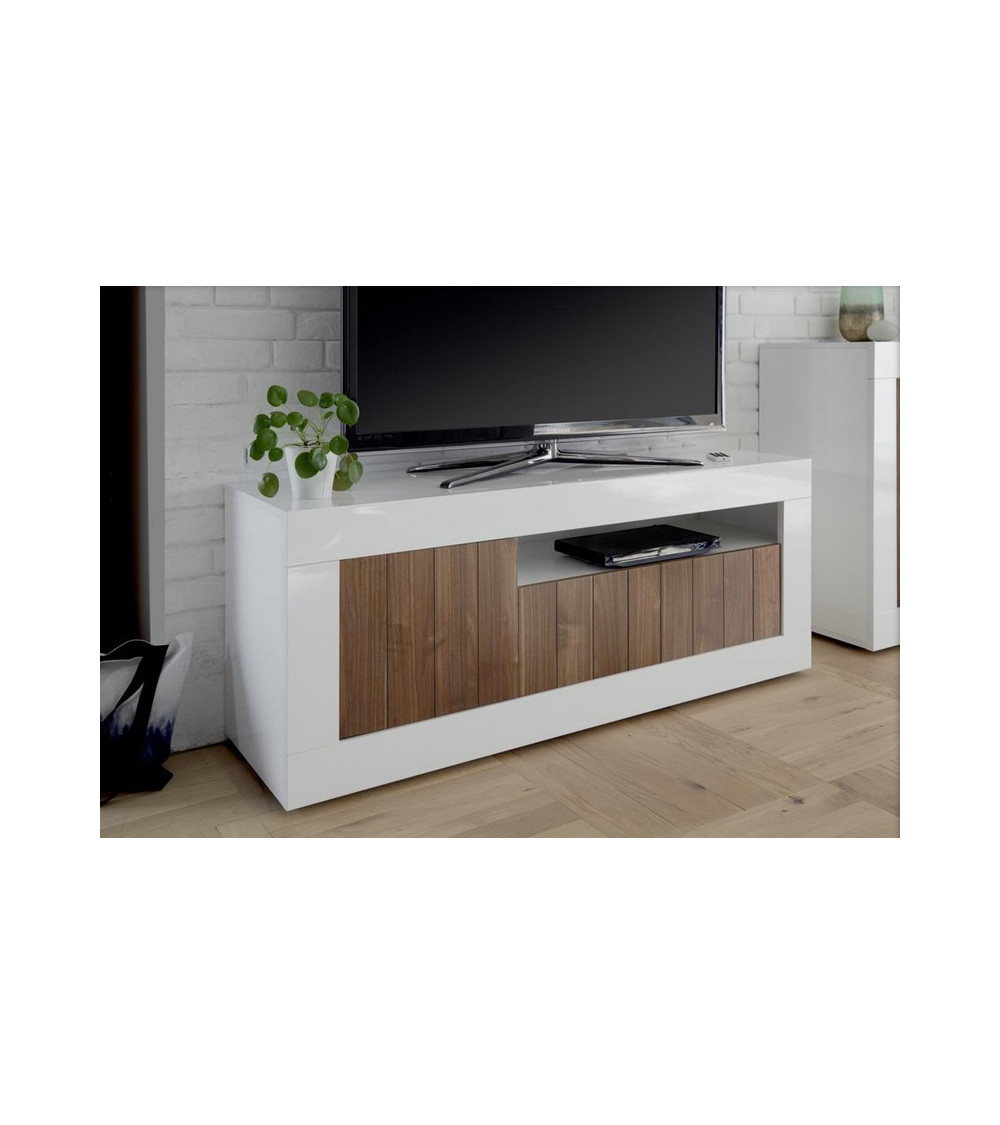 Meuble tv 3 portes SAMANTHA 138x56 cm noyer
