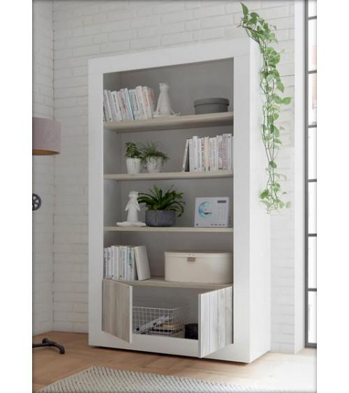 Bibliothéque SAMANTHA 2 portes 3 étageres 110x191 cm