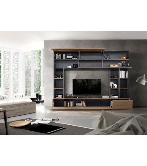 Ensemble meuble TV GEORGIO noyer 277 cm