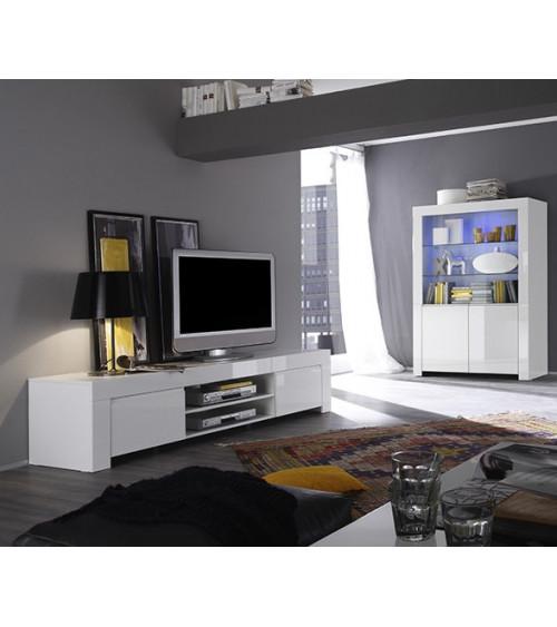Meuble tv LAZARRO 2 niches 2 portes 140 cm