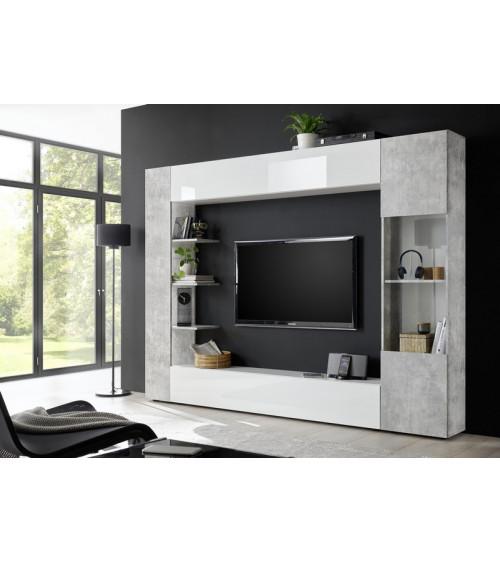 Ensemble meuble TV SOPRANO béton 295 cm