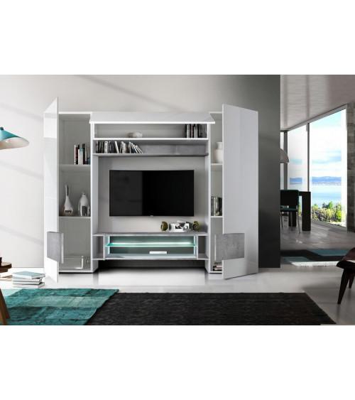 Ensemble meuble TV ENRICO 258 cm béton