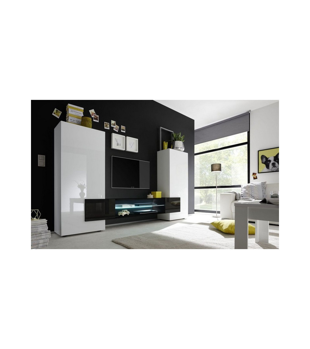 Ensemble meuble TV MARIO 258 cm noir - Azura Home Design