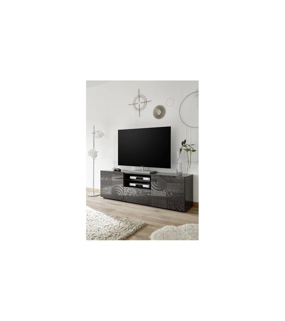 Meuble TV MIREL anthracite 2 portes 1 tiroir