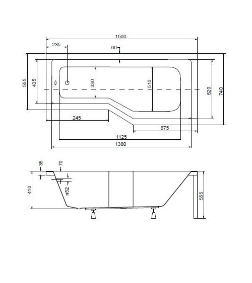MATIK Asymmetric Bathtub 160 x 70cm