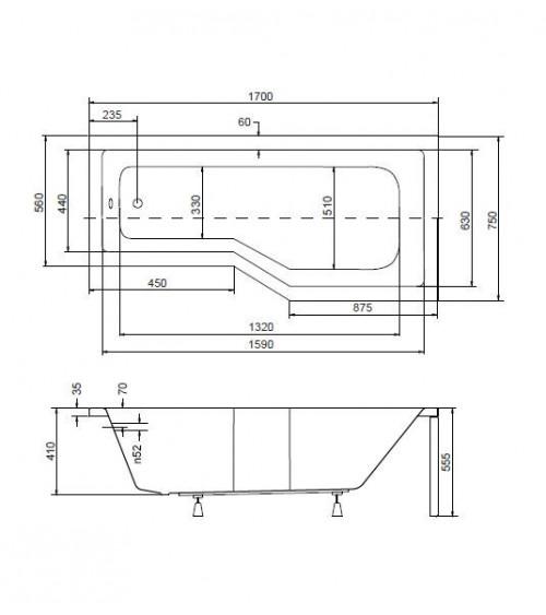 Baignoire asymétrique matik II  150 ou 170 cm DROITE