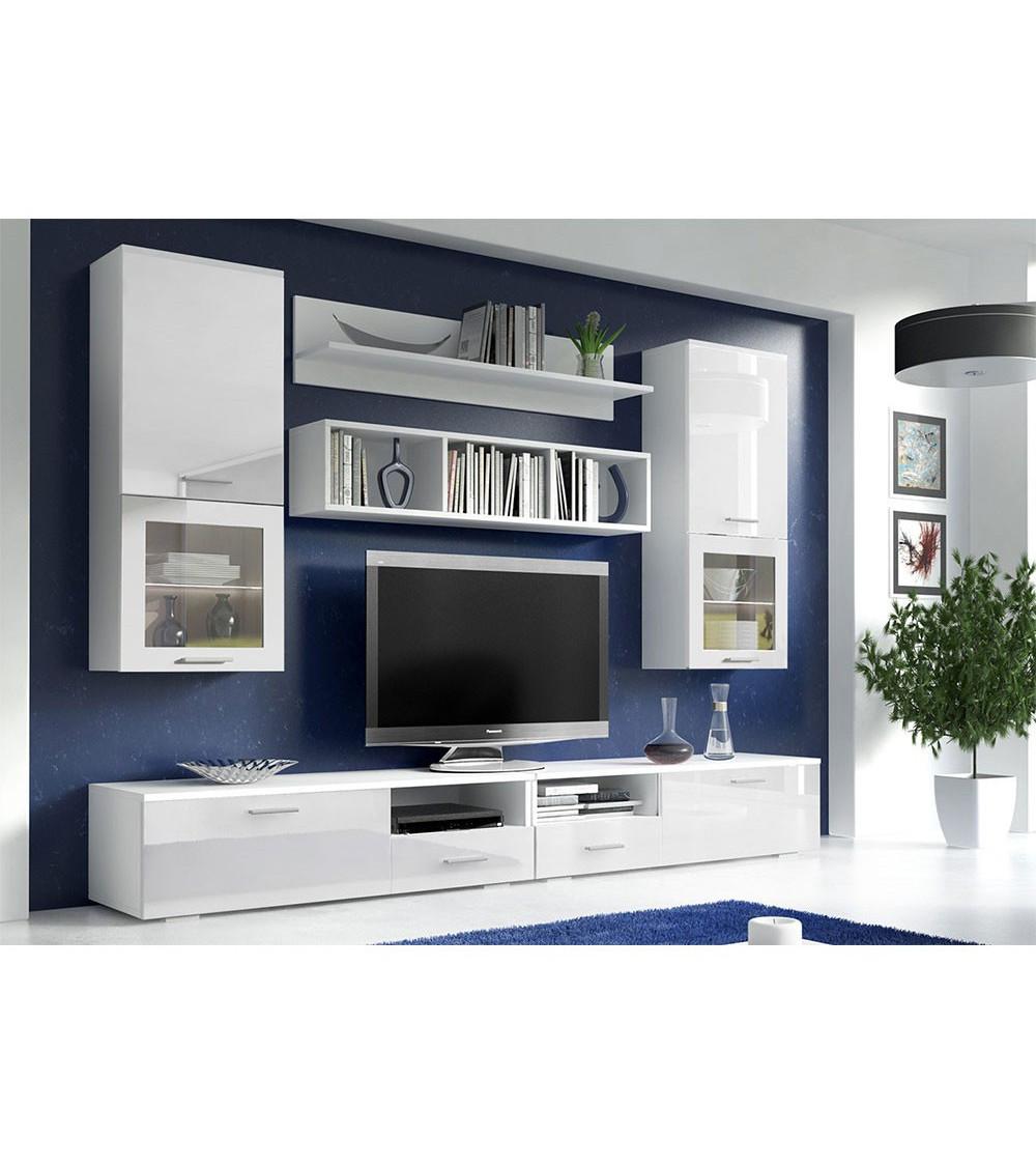 nouveaux styles 109ad df768 Ensemble meuble tv Santiago blanc 260 cm - Azura Home Design
