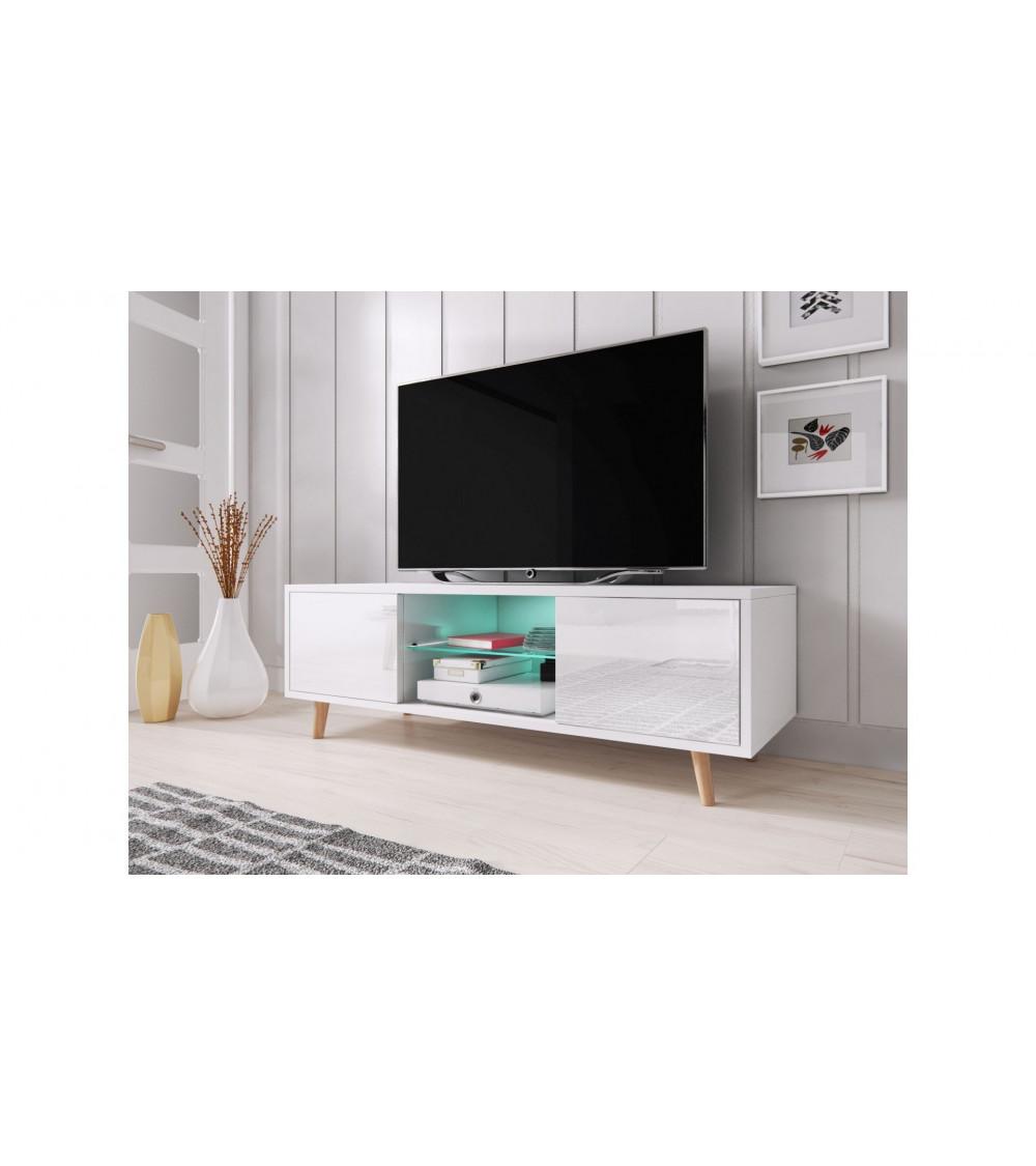 Meuble TV sweeden, 140 cm, taupe/wengé