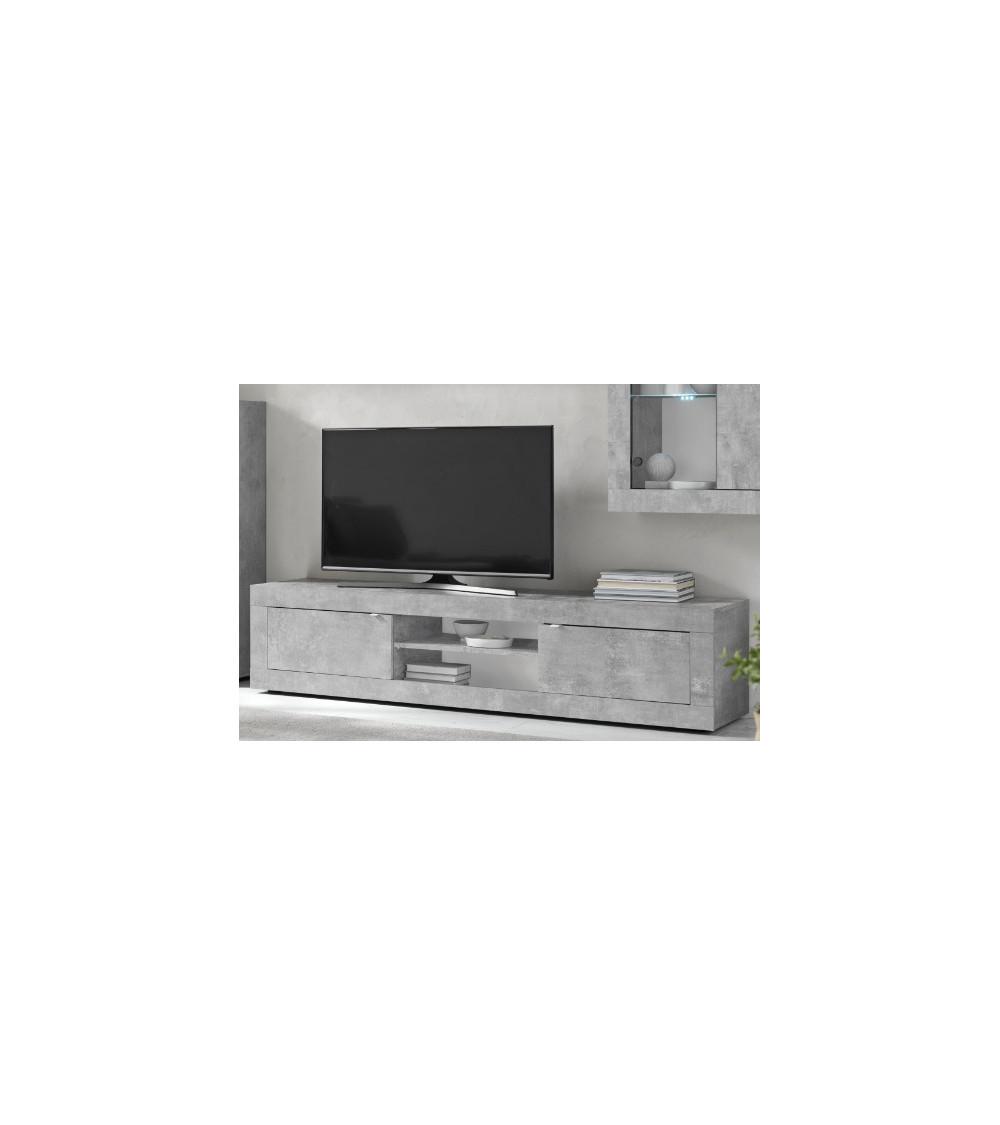 Meuble TV 2 portes BASIC béton 180 cm