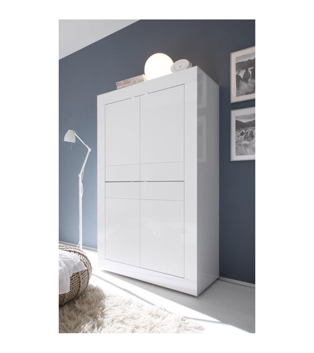 Argentier 4 portes BASIC finition Blanc laqué 102x163 cm
