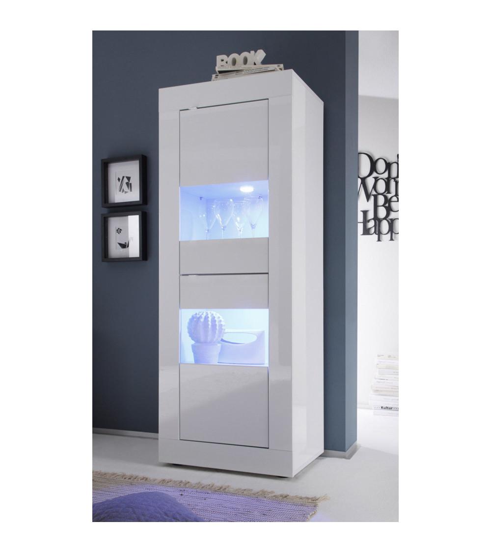 Colonne-vitrine 2 portes BASIC finition blanc laqué 61x162 cm