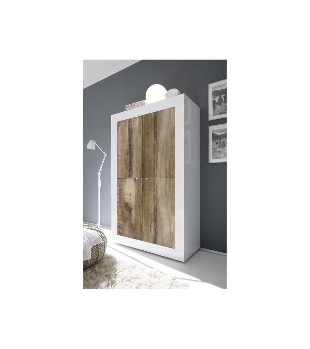 Argentier 4 portes BASIC finition blanc-chêne péro 102x163 cm