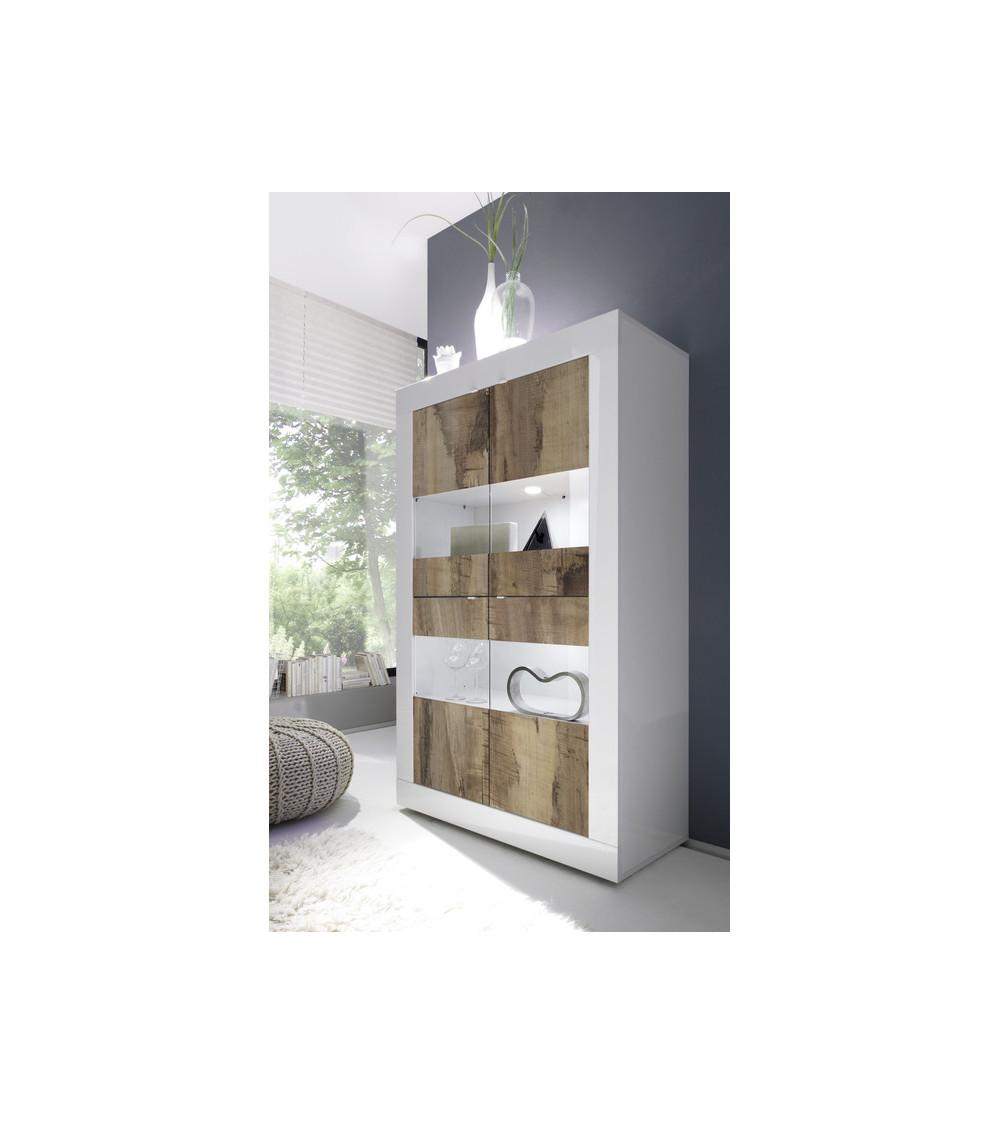 Vitrine 4 portes BASIC finition blanc-chêne péro 102/162/43 cm