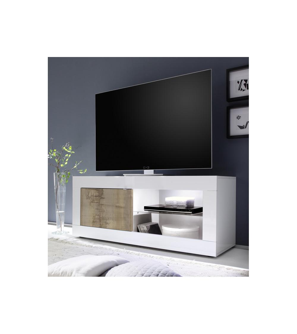 Meuble TV Basic finition blanc-chêne péro 1 porte 140/56/43 cm