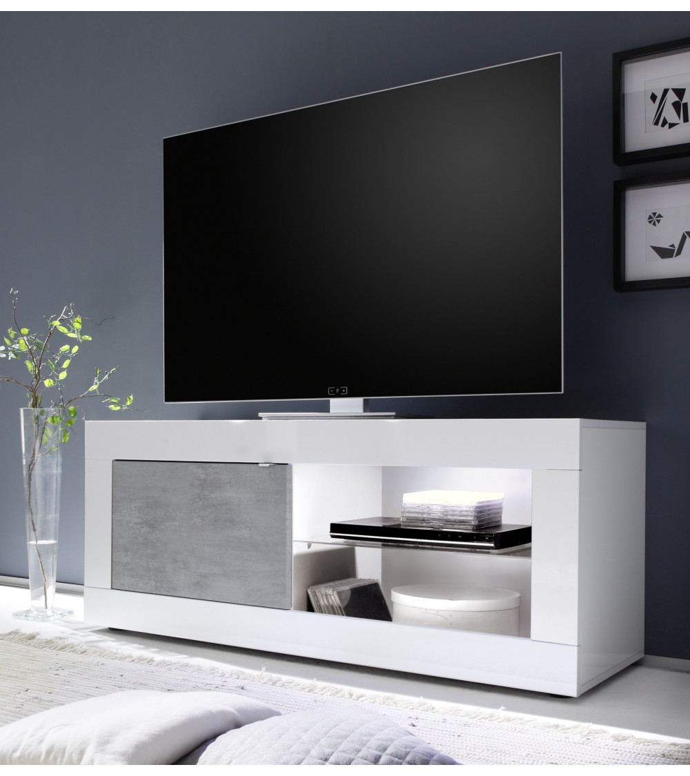 Meuble TV Basic finition blanc-béton 1 porte 140/56/43 cm
