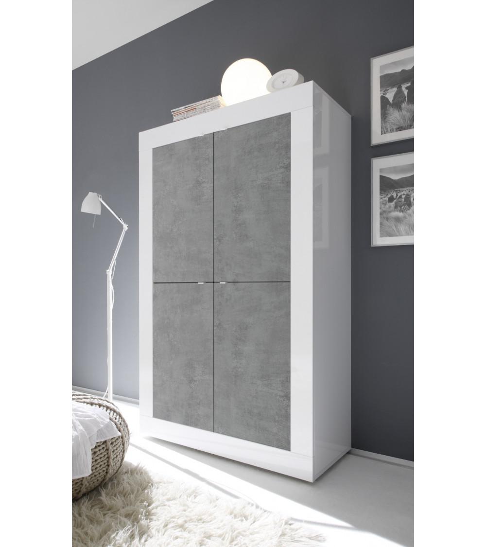 Argentier 4 portes BASIC finition blanc-béton 102x163 cm