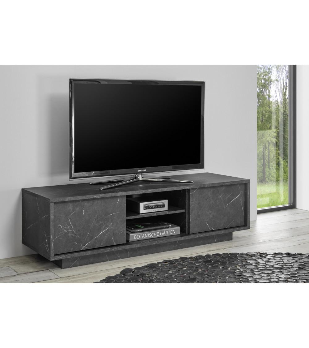 Meuble TV VISCONTI effet marbre noir 138cm