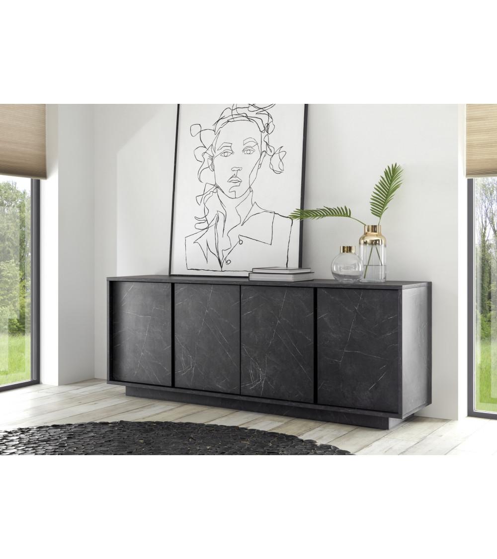 Buffet VISCONTI finition marbre noir 160 cm