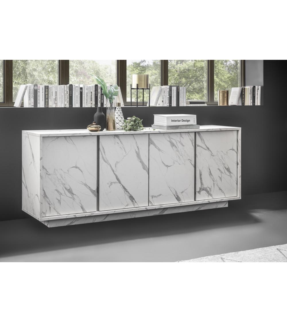 Buffet VISCONTI finition marbre blanc 160 cm