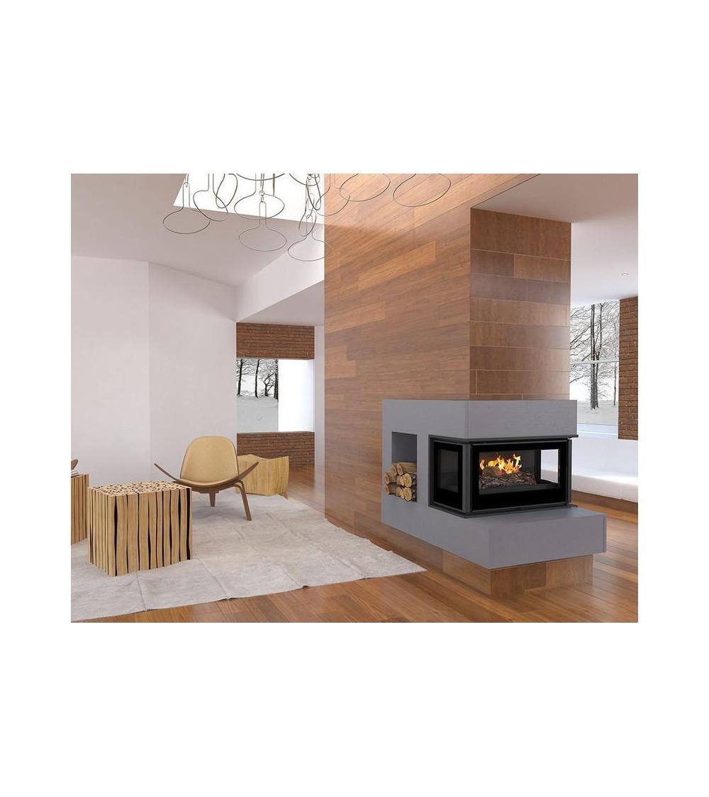 Insert cheminée à bois Holguin avec turbine 12 kW 3 côtés vitrées 11 kW