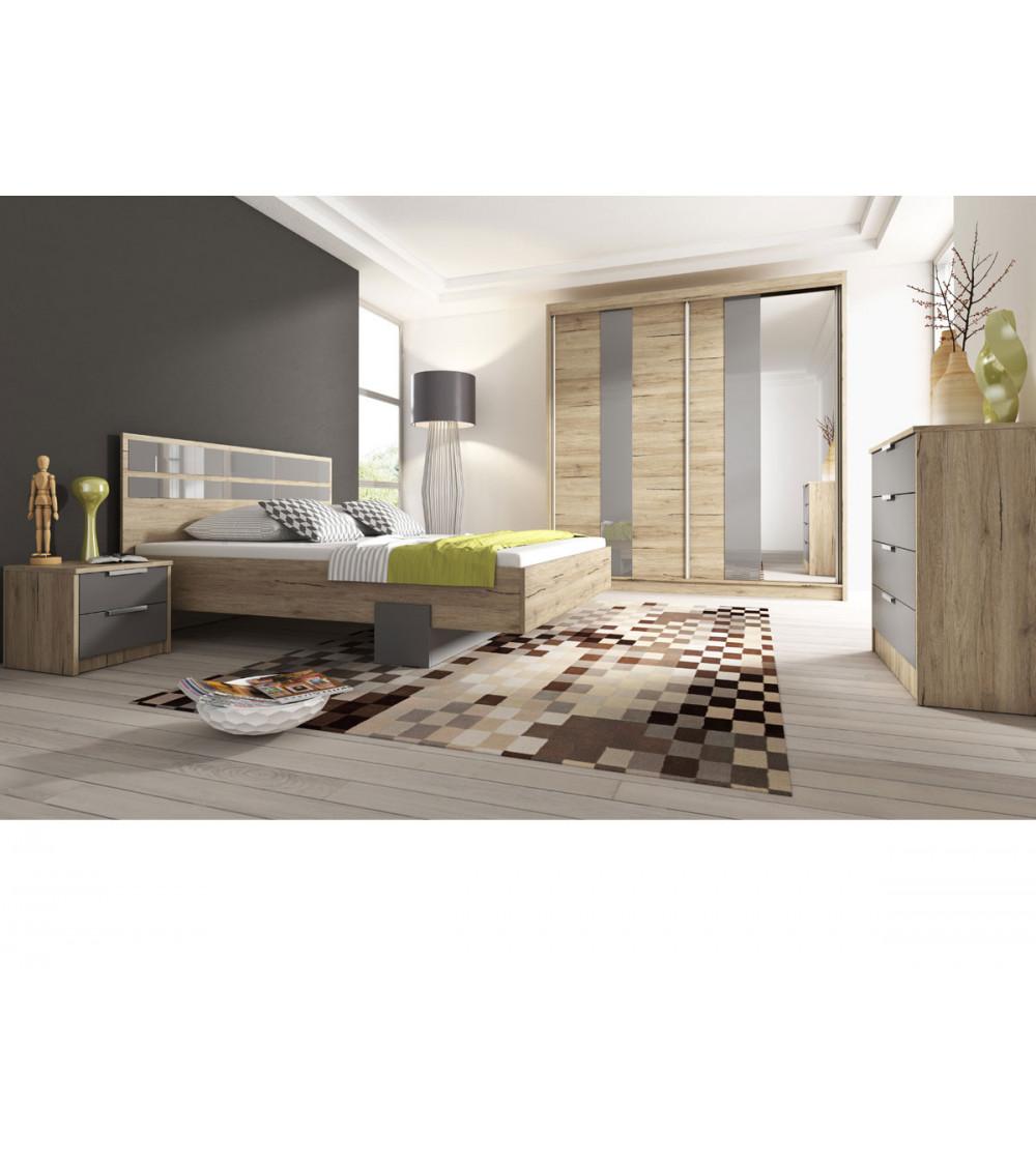 Chambre complète HELENA avec coffre de rangement 160x200 cm