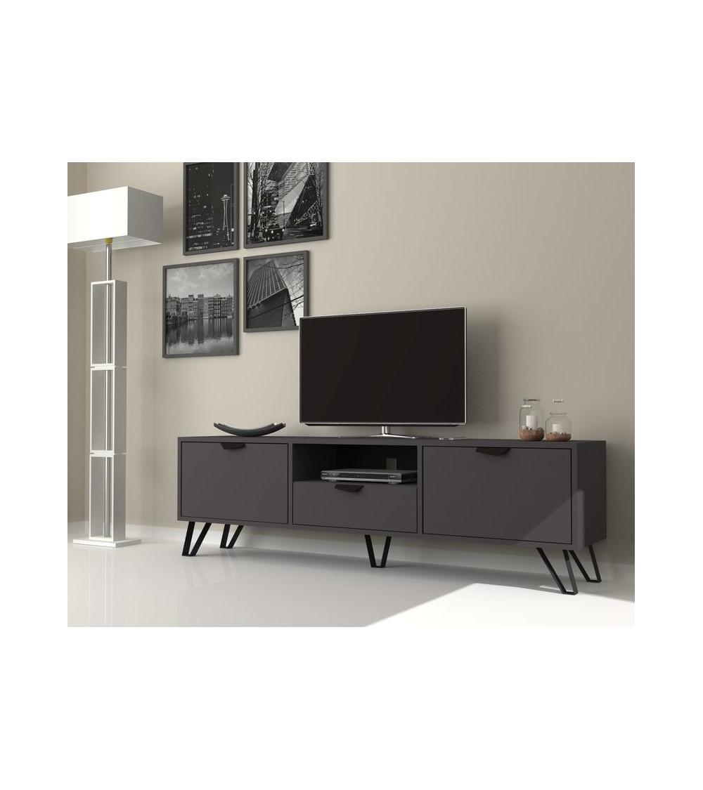 Meuble TV JASMINE Gris 2 portes, 1 tiroir