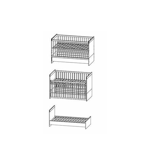 Convertible baby cot bed 70*140cm, KAMILLA