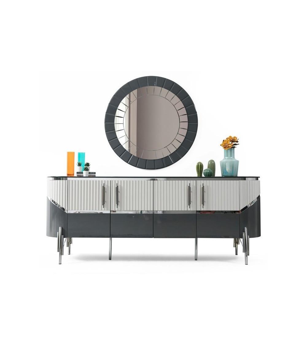 Buffet ROME BLANC - GRIS 4 portes 1 tiroir