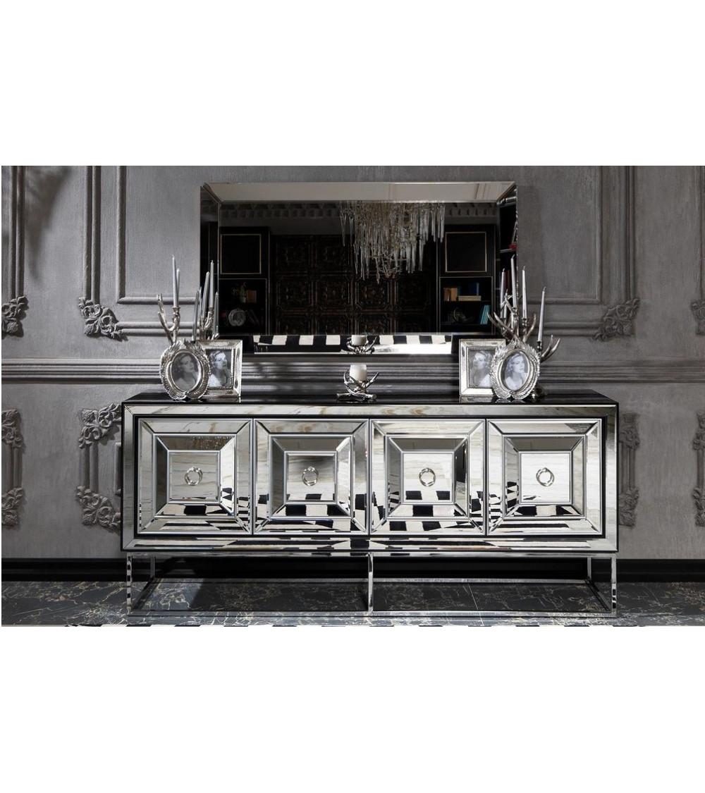 Buffet GUSI ARGENT 4 portes + miroir