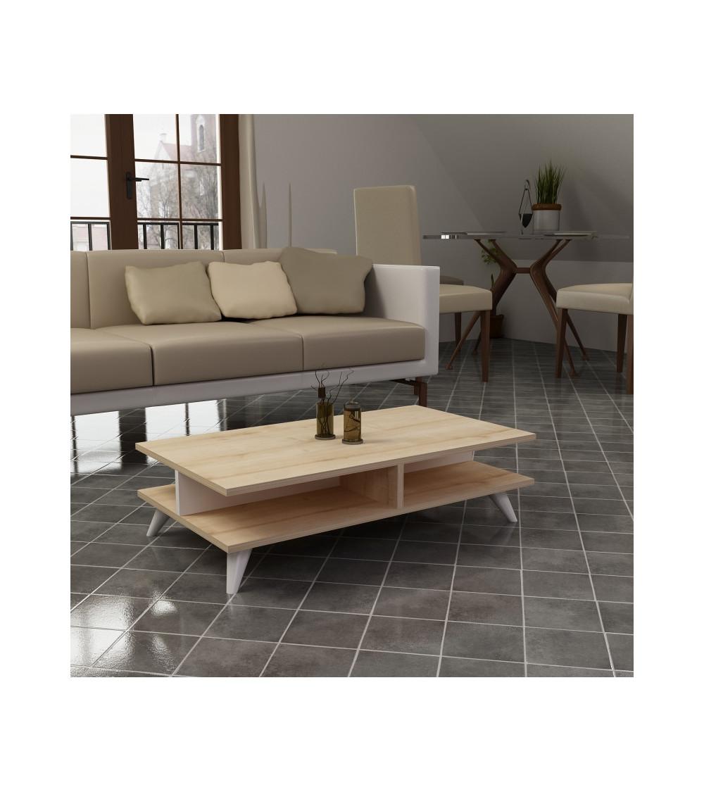 Table basse ISABEL blanc-pin