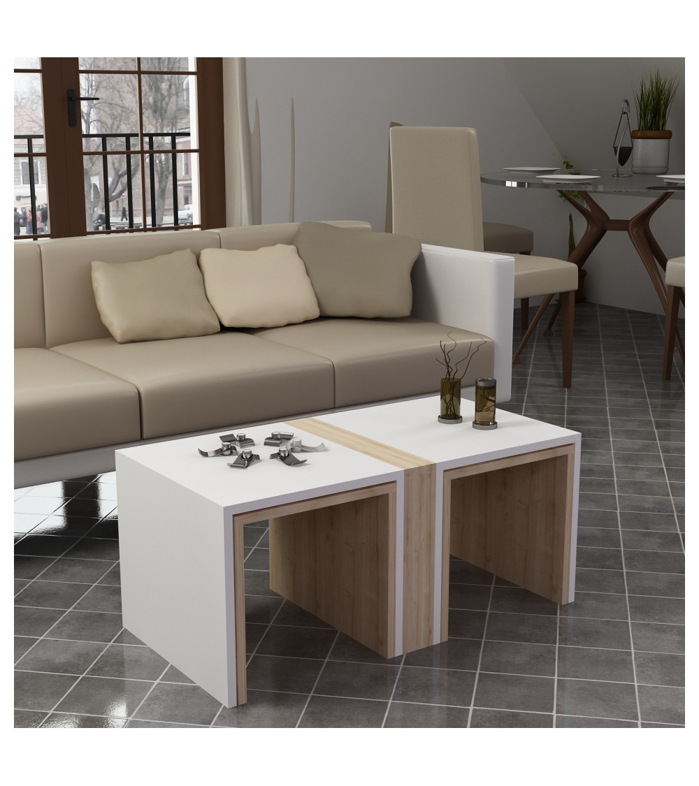 Table basse CONTRY blanc-pin