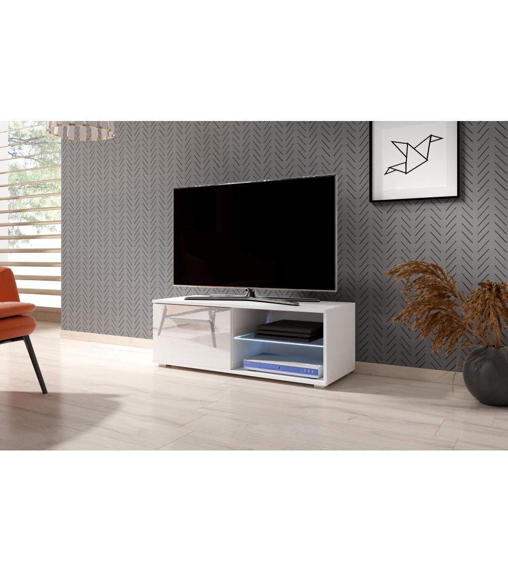 Meuble TV BEST , 100 cm, laqué blanc