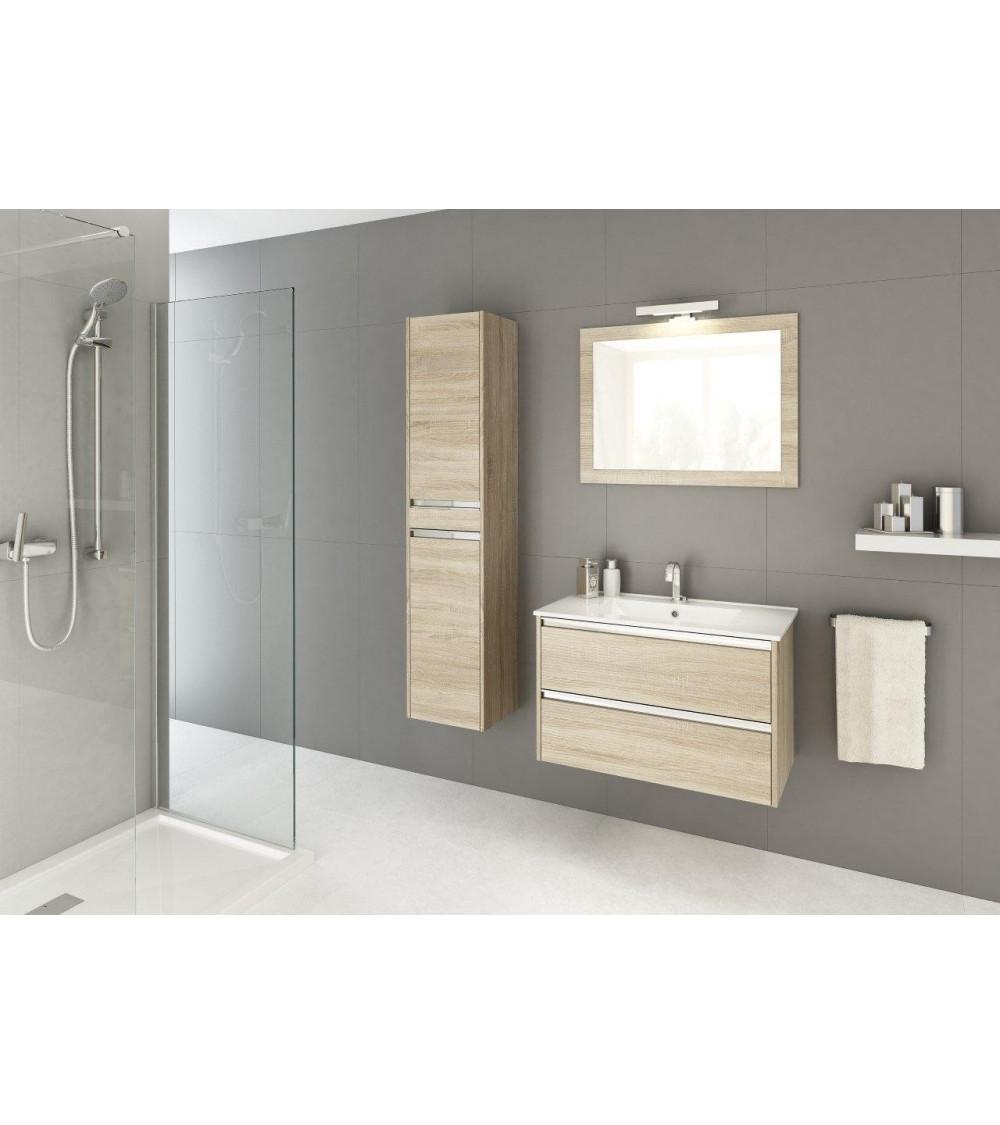 Ensemble de salle de bain fonte 80cm chene sonoma meuble for Meuble salle de bain bois 80 cm