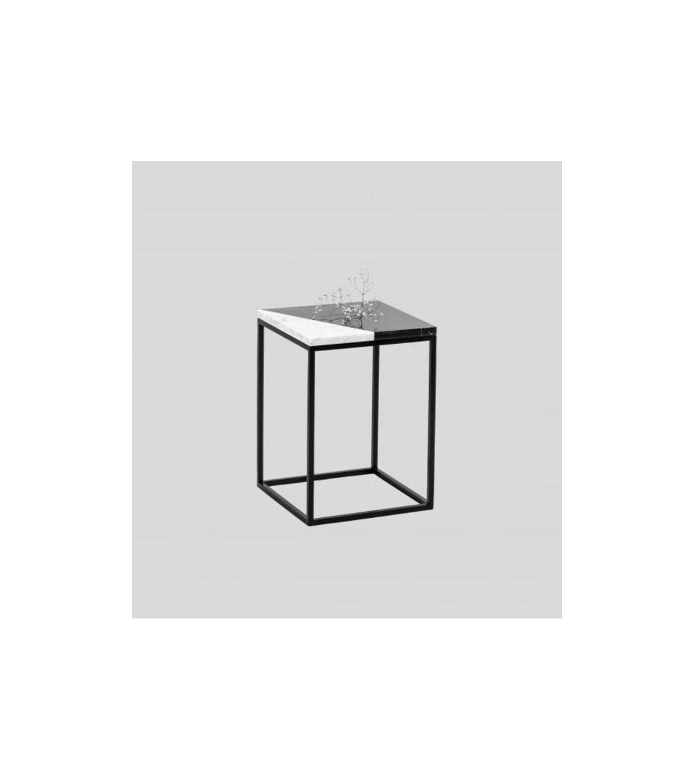 Table d'appoint en marbre noir et blanc