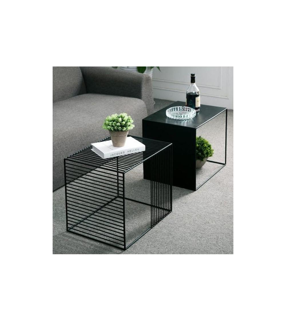 Table basse double en métal noir