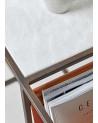 Table d'appoint en marbre blanc et cuir