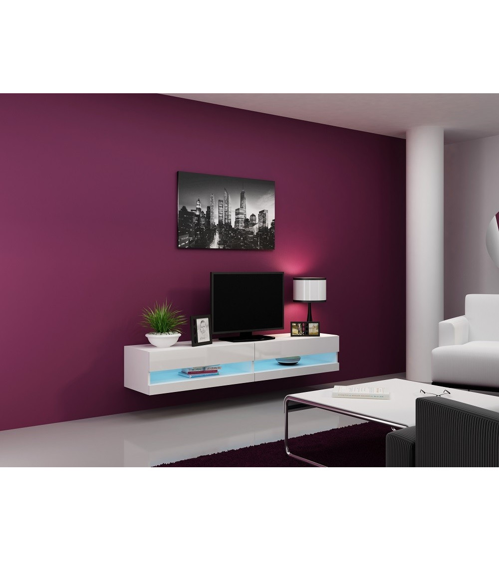 meuble tv vigo 180 noir ou blanc s jour meuble tv. Black Bedroom Furniture Sets. Home Design Ideas