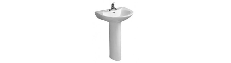 Pedestral basin, made of ceramic